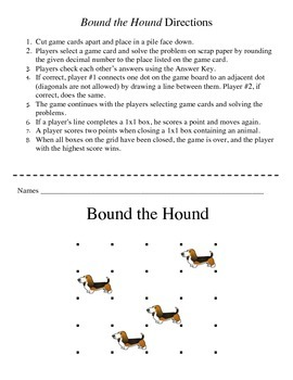 Bound the Hound - A 2-Player Game to Practice Rounding Decimal Numbers