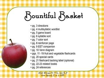 Bountiful Basket: Multisyllabic Fruit and Vegetables