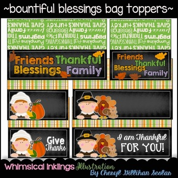 Bountiful Blessings Bag Toppers- Thanksgiving Clipart
