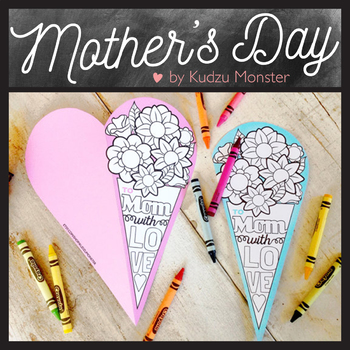 Bouquet Heart Mother's Day Card Coloring Activity
