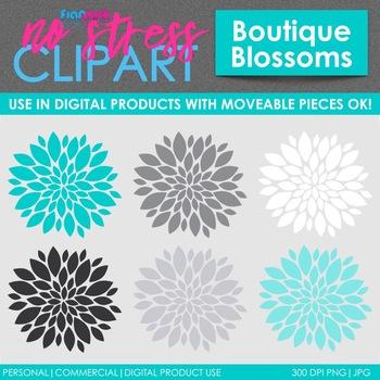 Boutique Flowers Clip Art (Digital Use Ok!)