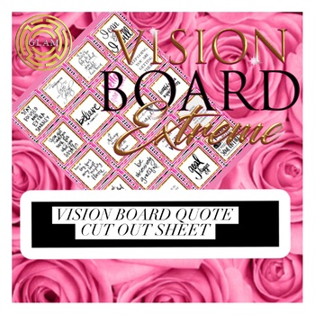 Boutique Square Bling Vision Board Quotes Pink