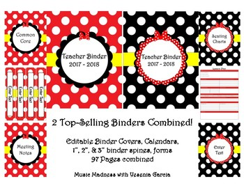 Bow Double Teacher Binder 2017-2018 (Covers, Spines, Forms & Calendars) Editable