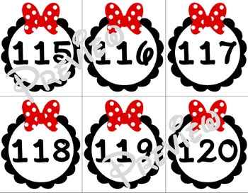 Bow Themed Circle Numbers / Labels 1 - 120