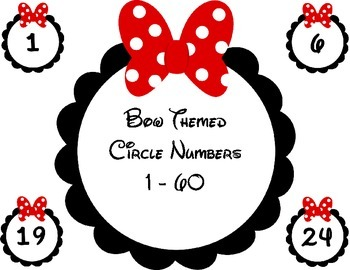 Bow Themed Circle Numbers / Labels 1 - 60
