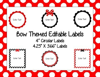 Bow Themed Labels (Editable) Set 2