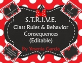 Bow Themed S.T.R.I.V.E. Class Rules & Behavior Consequences (Editable Templates)