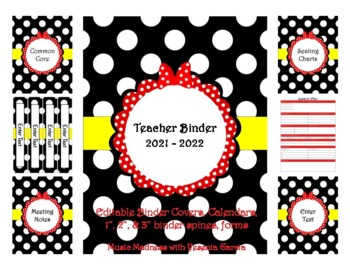 Red Bow Teacher Binder 2016-2017 (Covers, Spines, Forms & Calendars) Editable