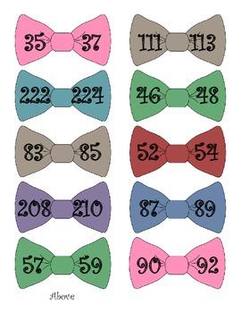 Bow Tie Finding Missing Number File Folder Game