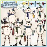 Bow Tie Snowmen Clip Art - Snowman Clip Art - Winter Clip