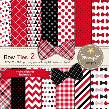 Bow Ties Digital Papers and Clipart