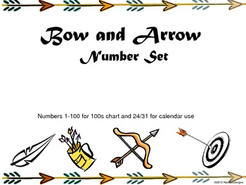 Bow and Arrow 100's Chart and Calendar Numbers