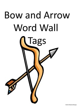 Bow and Arrow Word Wall Tags