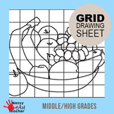 Bowl of Fruit Grid Drawing Worksheet for Middle/High Grades
