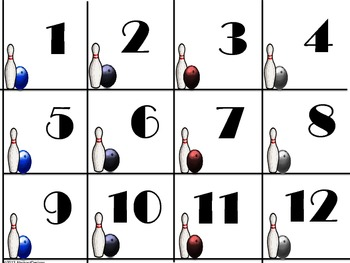 Bowling 100's Chart and Calendar Numbers