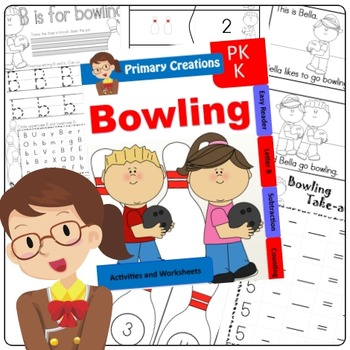 Sports - Bowling Preschool, PreK and Kinder Literacty and Maths Activities