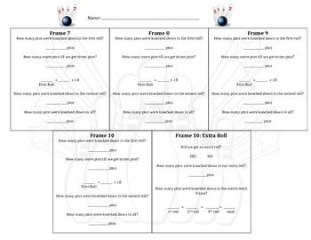 Bowling Basic Math Facts to Ten Recording Sheet