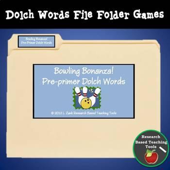Free!! Bowling Bonanza Pre-Primer Dolch Word File Folder Game