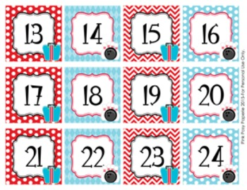 Bowling Classroom Decor Monthly Calendar Numbers