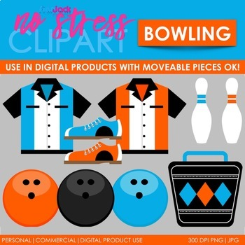 Bowling Clip Art Blue Set (Digital Use Ok!)