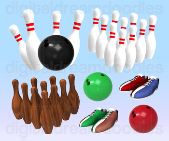 Bowling Clip Art - Bowler Shoe and Pins Digital Graphics