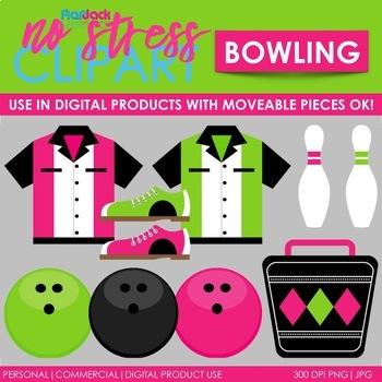 Bowling Clip Art Pink Set (Digital Use Ok!)