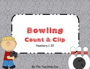 Bowling Count & Clip 1-20 Task Cards
