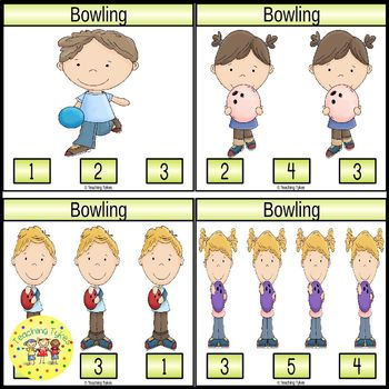 Bowling Count and Clip Sports Task Cards