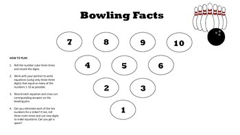 Bowling Facts: Addition/Subtraction Math Station
