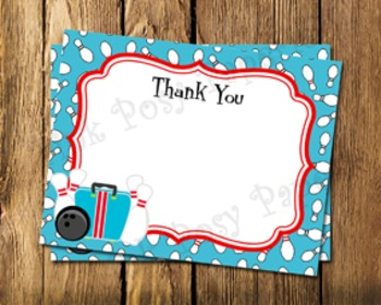 Bowling Flat Thank You Note Cards