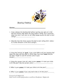 Bowling Force, Power & Work Field Trip