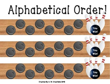 Bowling Game - Bowling for Alphabetical Order