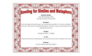 Bowling Game - Bowling for Similies and Metaphors
