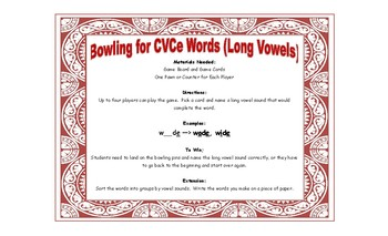 Bowling Game - Bowling for CVCe Long Vowel Words
