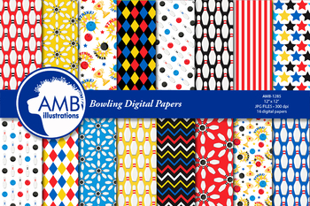 Bowling Night, Bowling Party Digital Papers AMB-1285