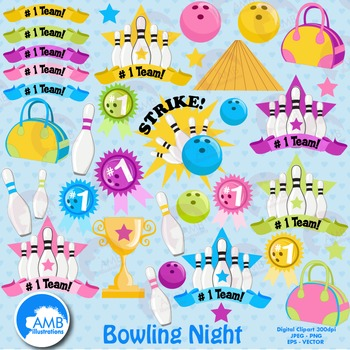 Bowling Clipart  Bowling Ball Night Clipart, Sports Clipart, Clip Art, AMB-935