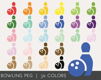 Bowling Peg Digital Clipart, Bowling Peg Graphics, Bowling