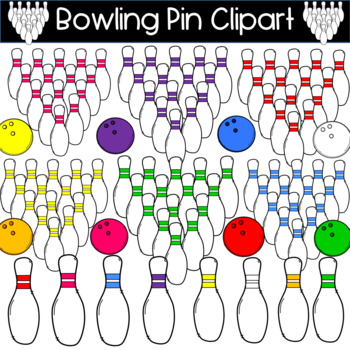 Colorful Bowling Pin and Bowling Ball Clipart