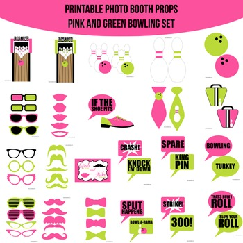 Bowling Pink Green Printable Photo Booth Prop Set