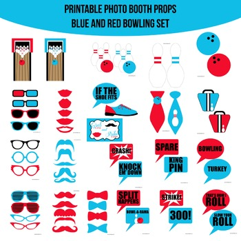 Bowling Red Blue Printable Photo Booth Prop Set