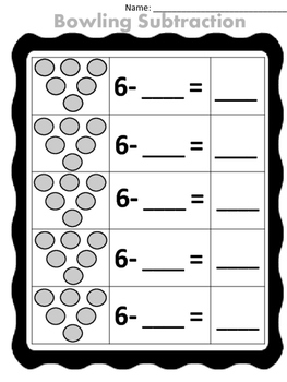 Bowling Subtraction (6 pin set) fill in the blank
