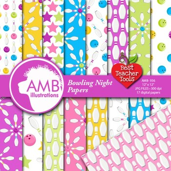 Bowling Digital Paper, Sport Paper and Backgrounds, {Best Teacher Tools} AMB-936