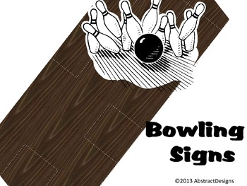 Bowling Themed Signs