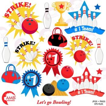 Bowling clipart, bowling ball, Pins, ball, sports, AMB-1284