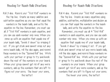 Bowling for Beach Balls Math Fact Freebie