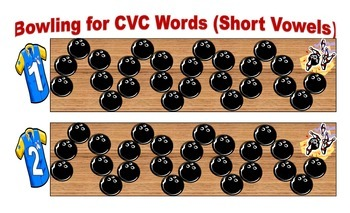 Bowling for CVC Words (Short Vowels) Game for Workstations and Small Groups