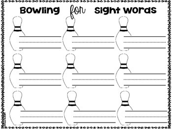 Bowling for Sight Words and { more }