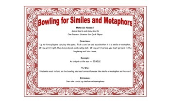 Bowling for Similes and Metaphors Game for Workstations and Small Groups