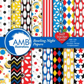 Bowling Night Digital Papers, Bowling Party Backgrounds, AMB-1285