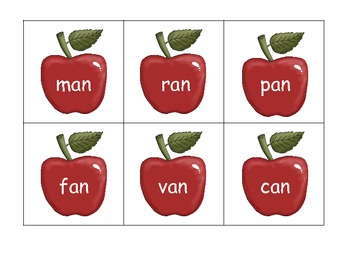 Bowls of Apples File Folder Game - Sorting -at -an Word Families